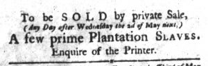 May 1 1770 - South-Carolina Gazette and Country Journal Slavery 3