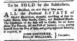 May 1 1770 - South-Carolina Gazette and Country Journal Slavery 4
