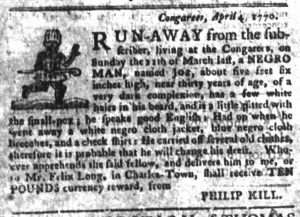 May 1 1770 - South-Carolina Gazette and Country Journal Supplement Slavery 5
