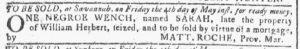 May 2 1770 - Georgia Gazette Slavery 3