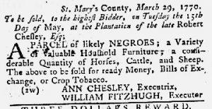 May 3 1770 - Maryland Gazette Slavery 3