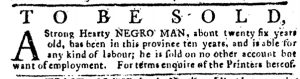 May 3 1770 - Pennsylvania Journal Supplement Slavery 2
