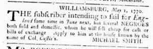 May 3 1770 - Virginia Gazette Rind Slavery 1