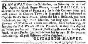 May 4 1770 - South-Carolina Gazette Slavery 15