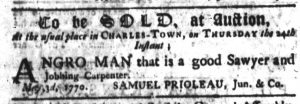 May 4 1770 - South-Carolina Gazette Slavery 2