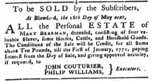 May 8 1770 - South-Carolina Gazette and Country Journal Supplement Slavery 5