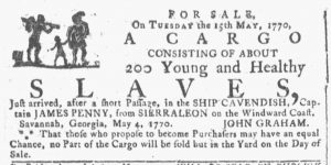 May 9 1770 - Georgia Gazette Slavery 1