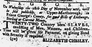 Nov 1 1770 - Maryland Gazette Slavery 1