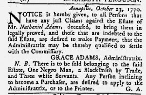 Nov 1 1770 - Maryland Gazette Slavery 2