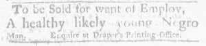 Nov 1 1770 - Massachusetts Gazette and Boston Weekly News-Letter Slavery 2
