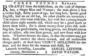 Nov 1 1770 - Pennsylvania Journal Slavery 1
