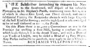 Nov 1 1770 - South-Carolina Gazette Slavery 1