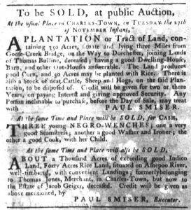 Nov 1 1770 - South-Carolina Gazette Slavery 5