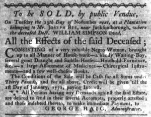 Nov 1 1770 - South-Carolina Gazette Slavery 9