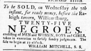 Nov 1 1770 - Virginia Gazette Rind Slavery 1
