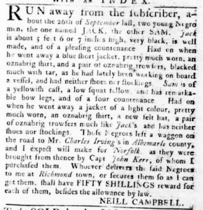 Nov 1 1770 - Virginia Gazette Rind Slavery 5