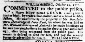 Nov 1 1770 - Virginia Gazette Rind Slavery 6