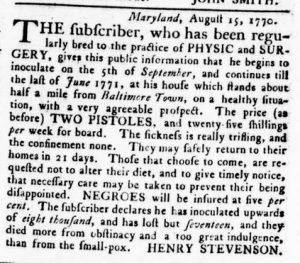 Nov 1 1770 - Virginia Gazette Rind Slavery 8