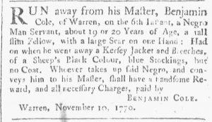Nov 10 1770 - Providence Gazette Slavery 1