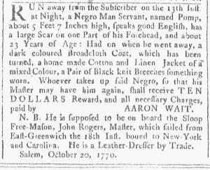 Nov 10 1770 - Providence Gazette Slavery 2