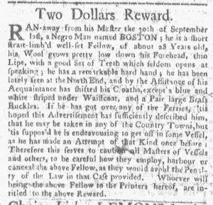 Nov 12 1770 - Boston-Gazette Slavery 1