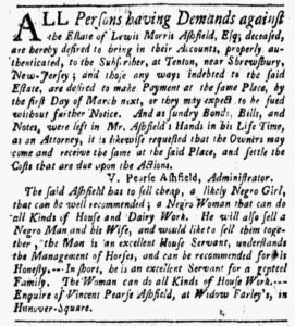 Nov 12 1770 - New-York Gazette and Weekly Mercury Slavery 1