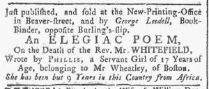 Nov 12 1770 - New-York Gazette or Weekly Post-Boy Slavery 1