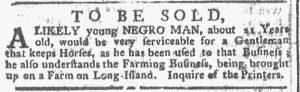 Nov 12 1770 - New-York Gazette or Weekly Post-Boy Slavery 2