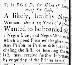 Nov 13 1770 - Essex Gazette Slavery 1