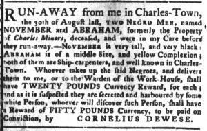 Nov 13 1770 - South-Carolina Gazette and Country Journal Continuation Slavery 3