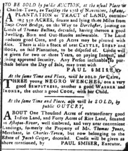 Nov 13 1770 - South-Carolina Gazette and Country Journal Continuation Slavery 5