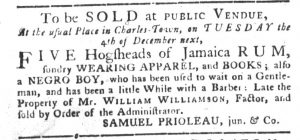 Nov 13 1770 - South-Carolina Gazette and Country Journal Slavery 2