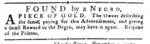 Nov 13 1770 - South-Carolina Gazette and Country Journal Slavery 4