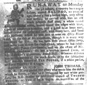 Nov 13 1770 - South-Carolina Gazette and Country Journal Supplement Slavery 1