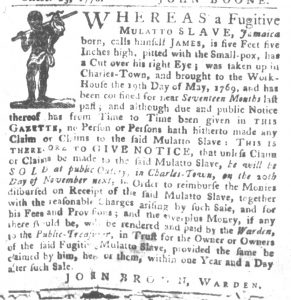 Nov 13 1770 - South-Carolina Gazette and Country Journal Supplement Slavery 4