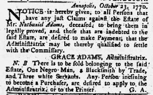 Nov 15 1770 - Maryland Gazette Slavery 1