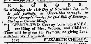 Nov 15 1770 - Maryland Gazette Slavery 2