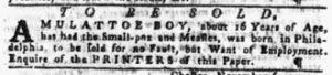 Nov 15 1770 - Pennsylvania Gazette Slavery 1