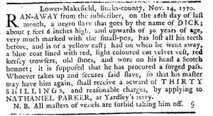 Nov 15 1770 - Pennsylvania Journal Slavery 1