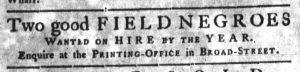 Nov 15 1770 - South-Carolina Gazette Slavery 1