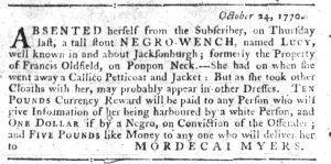 Nov 15 1770 - South-Carolina Gazette Slavery 11