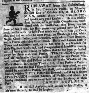 Nov 15 1770 - South-Carolina Gazette Slavery 2