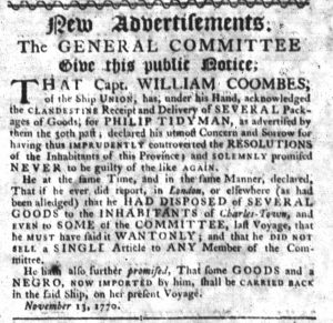 Nov 15 1770 - South-Carolina Gazette Slavery 6