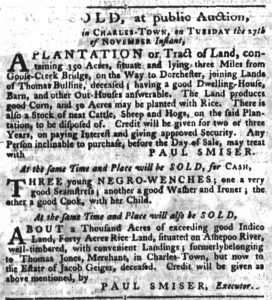 Nov 15 1770 - South-Carolina Gazette Supplement Slavery 2