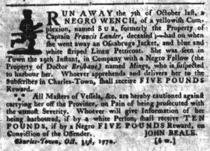 Nov 15 1770 - South-Carolina Gazette Supplement Slavery 4