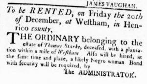 Nov 15 1770 - Virginia Gazette Rind Slavery 1