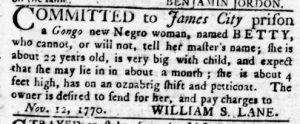 Nov 15 1770 - Virginia Gazette Rind Slavery 3