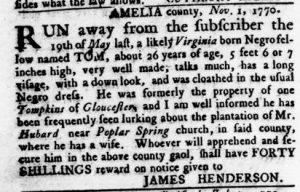 Nov 15 1770 - Virginia Gazette Rind Slavery 6