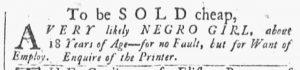 Nov 17 1770 - Providence Gazette Slavery 1