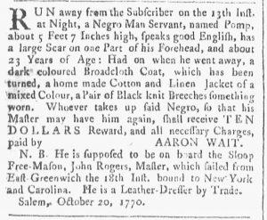 Nov 17 1770 - Providence Gazette Slavery 2